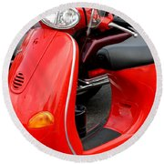 Red Vespa Vintage Scooter Motorcycle Round Beach Towel