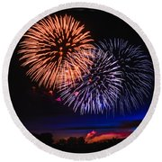 Red White And Blue Round Beach Towel by Robert Bales