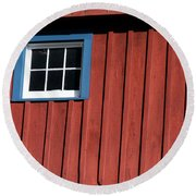 Red White And Blue Window Round Beach Towel