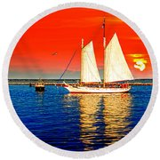 Red White Blue Cape Cod Will Do Round Beach Towel