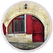 Red Windows And Door Provence France Round Beach Towel