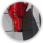 Red Wolf Mask Round Beach Towel