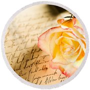 Red Yellow Rose Over A Hand Written Letter Round Beach Towel