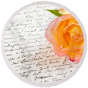 Red Yellow Rose Over A Hand Written Love Letter Round Beach Towel