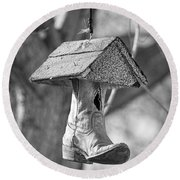 Redneck Cowboy Boot Birdhouse Bw Round Beach Towel