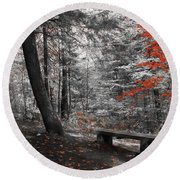 Reds In The Woods Round Beach Towel