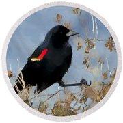 Redwing Blackbird Round Beach Towel