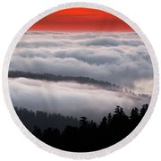 Redwood Clouds Round Beach Towel