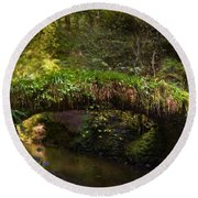 Reelig Bridge And Grotto Round Beach Towel