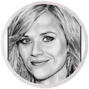 Reese Witherspoon In 2010 Round Beach Towel