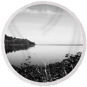 Reflected Perfectly Calm Round Beach Towel