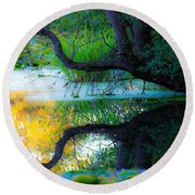 Reflected Tree In Pastel Landscape Round Beach Towel