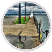 Reflecting At The Erie Basin Marina Round Beach Towel