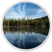 Reflecting Blue Round Beach Towel