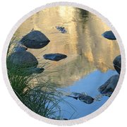 Reflecting Peaks In The Merced River Round Beach Towel