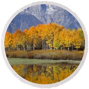 Reflection At Oxbow Bend Round Beach Towel