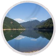 Reflection At The Reservoir Round Beach Towel