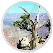 Reflection In The Canyon Round Beach Towel