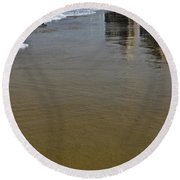Reflection In The Sand Round Beach Towel