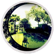 Reflection Of A Photographer Round Beach Towel