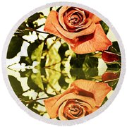Reflection Of A Warm Rose Round Beach Towel