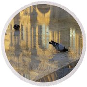 Reflection Of The Louvre In Paris Round Beach Towel