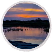 Reflection Of The Sunset Round Beach Towel