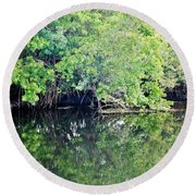 Reflection On The North Fork River Round Beach Towel