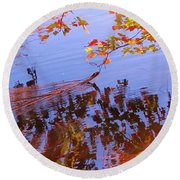 Reflections And Currents Round Beach Towel