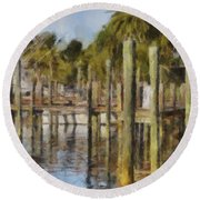 Reflections At Fort Pierce Round Beach Towel