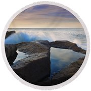 Reflections In Monument Cove Round Beach Towel