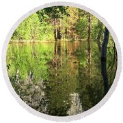 Reflections In The Merced Round Beach Towel