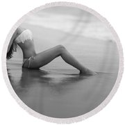 Reflections In Wet Sand Round Beach Towel