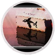 Reflections Of An Orca In Stained Glass Round Beach Towel