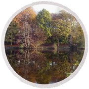 Reflections Of Autumn Round Beach Towel by Rod Johnson