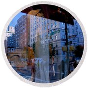 Reflections On Madison Avenue Round Beach Towel