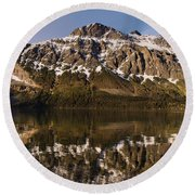 Reflections On Red Eagle Mountain Round Beach Towel