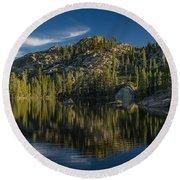 Reflections On Salmon Lake Round Beach Towel
