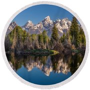 Reflections On Schwabacher Landing Round Beach Towel