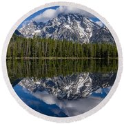 Reflections On String Lake Round Beach Towel