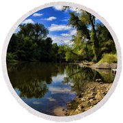 Reflections On The Kankakee Round Beach Towel