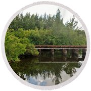 Reflections On The North Fork River Round Beach Towel