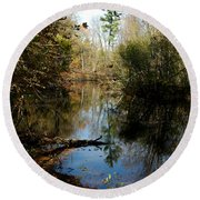 Reflective River Thoughts Round Beach Towel