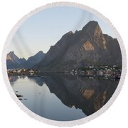 Reine Village In Early Morning Light Round Beach Towel