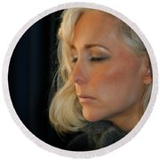 Relaxed Blond Woman Round Beach Towel