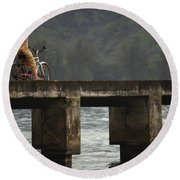 Relaxed Ride Hanalei Bay Round Beach Towel