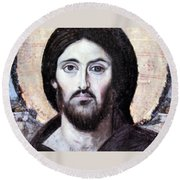 Religious Painting At Beit Jala Round Beach Towel