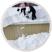 Removing Snow From A Building Round Beach Towel