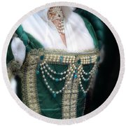 Renaissance Lady In Green Round Beach Towel