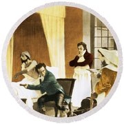 Rene Laennec, French Physician Round Beach Towel